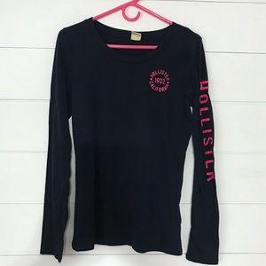Hollister Navy Blue and Pink shirt